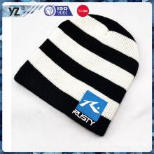 Alta qualidade listrado chapéu de malha de inverno com preço barato