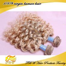 Индийский Реми Волос Цвет #613 Блондинка Человеческих Волос Волос Ткет Вьющиеся