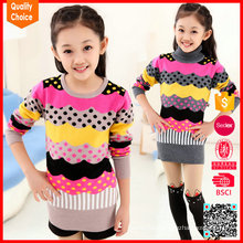 Knitted colorful children pullover wool sweater design for girl