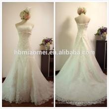 Maßgeschneiderte bodenlangen Braut Kleid weiße Farbe Spitze eine Linie Brautkleid Meerjungfrau