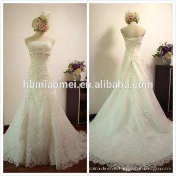 Custom made floor length bride dress white color lace a line wedding dress mermaid