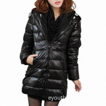 Women's Down Coat with Hat, Pockets on Both Sides and Zipper in Front