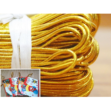 Gold metallic round elastic cord for tag