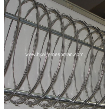 Metal razor wire fence