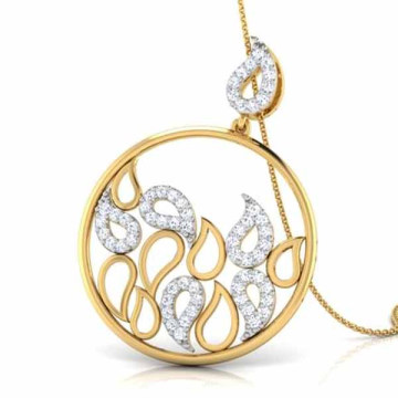 14k Gold Over Silver Water Drops Cubic Zircon Pendants