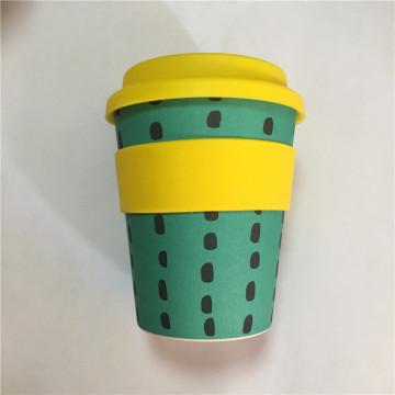Natürliche Bambusfaser-Kaffeetasse mit Silikondeckel