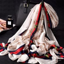 2018 nueva llegada hermosa dama impresa chal bufanda 180x90 cm 100% poliéster bufanda de seda
