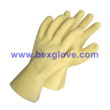 Algodón Jersey Liner, revestimiento de látex, Ripple estilo acabado arrugado, guante de longitud de 35 cm