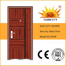 Steel Door Design Metal Door Cheap Wrought Iron Door (SC-S046)
