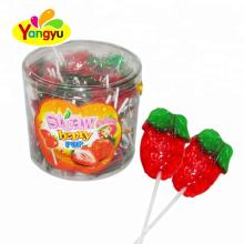 Hot Selling Fruity Strawberry Shape Sweet Hard Lollipop Candy