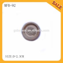MFB92 2015 Logotipo de marca nova em relevo botão de pressão de metal de design para vestuário