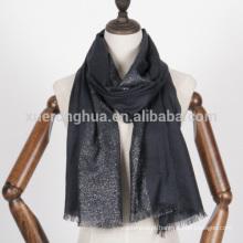 Lenço de lã merceado prata lurex