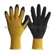 10g Yellow Tc Knitted Gloves with Black Crinkle Latex Palm Coated