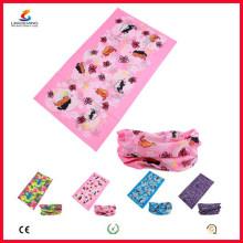 Ningbo Lingshang LSB-5358 100% poliéster microfibra Multifuncional sem costura Atacado Headwear crânio bandana tubo pescoço