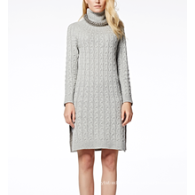 17PKCS252 2017 knit wool cashmere knitted lady sweater dress