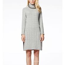 17 PKCS252 2017 malha de lã cashmere de malha camisola da senhora vestido