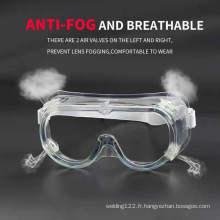 Lunettes de protection anti-buée en plastique transparent transparent