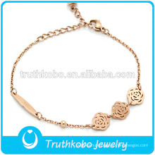 Costume Stainless Steel Exquisite Charming Rose Gold Handcuff Bracelet Jewelry with Rose Flower Pendant For Women