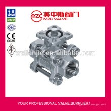 3PC Stainless Steel Ball Valves Threaded Ends ISO5211 Direct Mounting Pad Ball Valves DN65