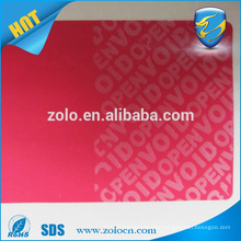 Seal suitcase box VOID sticker ,Tamper evident warranty seal sticker for paper box packaging