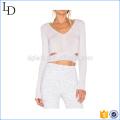 Белые ремни талии с длинным рукавом футболки тренажерный зал йога рубашки фитнес T