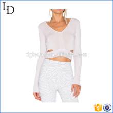 White straps waist long sleeve gym shirts yoga fitness t shirt