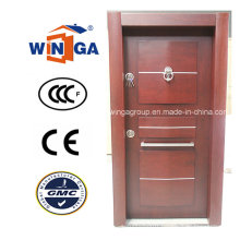 Africa Security Steel MDF Wood Veneer Armored Door (W-T27)