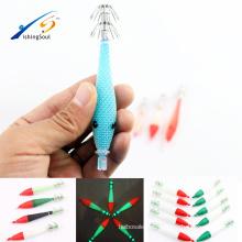 Señuelo de la pesca del resplandor artificial del cebo FSQL021 con la plantilla plástica luminosa del calamar del gancho
