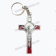 Самый новый дизайн Красный Религиозный цинковый сплав Cross Keychain