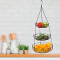 Cesta de frutas de arame de metal de aço inoxidável suspenso em 3 camadas