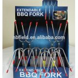 BBQ extentable forks U type forks with wooden plastic handle