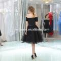 Neue Sexy Casual Schwarz Farbe Off-Schulter Puffy Abendkleid Kurz