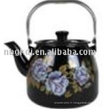 bouilloire en porcelaine émaillée couleur avec poignée en bakélite