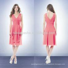 Nouvelle robe de demoiselle d'honneur rose 2014 V-Neck Longueur au genou Cris-Cross Plis Chiffon A-Line Robe courte de fête de bal avec fleur de chariot NB0722