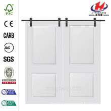 60 in. x 80 in. Cambridge Smooth Composite Double Barn Door with Sliding Door Hardware Kit