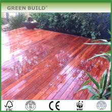 Red distressed crack-resistant solid merbau garden decking