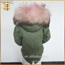 Enfant hiver Multi couleur Raccoon à capuche Faux Coat Fur Parka