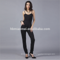 Fashion Black Harness Backless Jumpsuits Strampler Frauen Satin Strampler