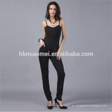 Fashion Black Harness Backless Jumpsuits Strampler Frauen Satin Strampler