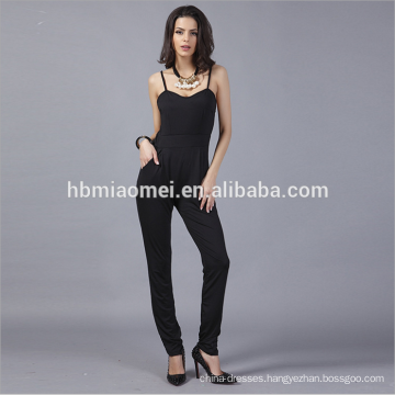 Fashion Black Harness Backless Jumpsuits Rompers Women Satin Rompers