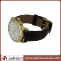 Japan Movt Quartz Watch with Leather Strap for Men