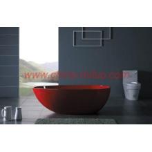 glossy red cast stone Freestanding Bathtub-ST-03