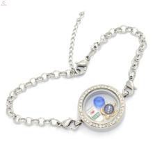 En gros en acier inoxydable faire mémoire médaillon pendentifs en cristal bracelet, bracelet fournitures
