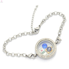 Wholesale stainless steel make memory locket pendants crystal bracelet, bracelet supplies