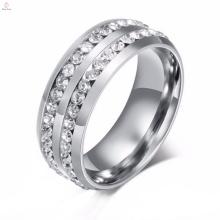Inlay en acier inoxydable de nouvelle conception avec des anneaux argentés en pierre, anneau d'acier inoxydable de mode