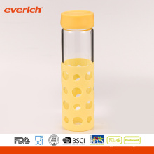 Everich borosilicato de alto grado de vidrio de beber botella de agua con la manga de silicona