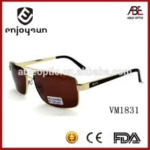 High Quality Double Bridge Metal Fashion Men Lunettes de soleil Brown Objectifs Lunettes de soleil en métal