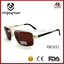 High Quality Double Bridge Metal Fashion Men Óculos de sol Brown Lenses Metal Óculos de sol