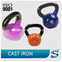 Cast iron kettlebell with rubber base