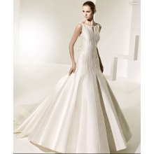 Ball Gown Open Neckline Cathedral Train Satin Bowknot V-back  Wedding Dress